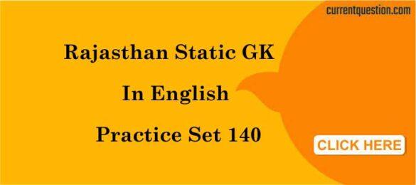Rajasthan Static GK In English