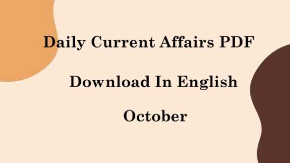Daily Current Affairs PDF In English October 2021